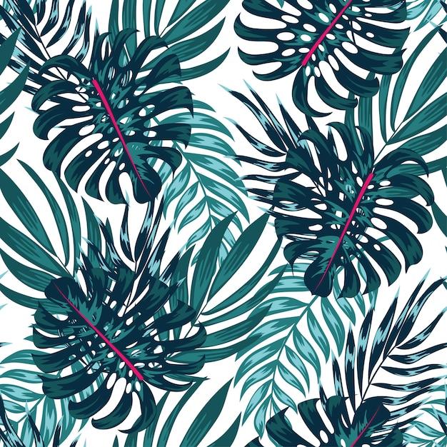 Модный тропический бесшовный узор с яркими растениями и листьями на светлом фоне Premium векторы