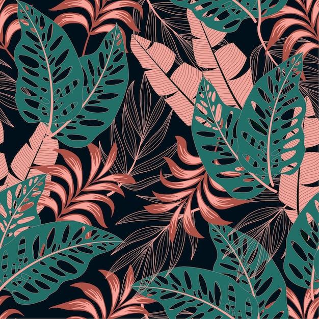 Модный бесшовный тропический узор с яркими растениями и листьями Premium векторы