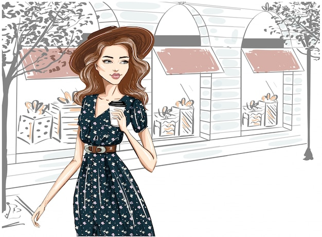 Fashionably dressed woman on the street in hat Premium Vector