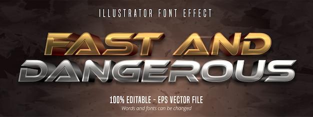 Быстрый и опасный текст, эффект редактирования шрифта в стиле золотой и серебряный металлик Premium векторы