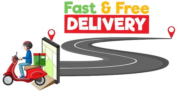 バイクマンまたは宅配便の高速で無料の配達ロゴ 無料ベクター
