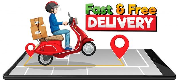 Быстрая и бесплатная доставка логотипа с велосипедистом или курьером Бесплатные векторы