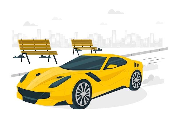 Illustrazione di concetto di auto veloce Vettore gratuito