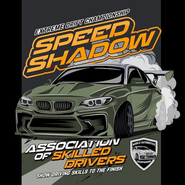 Fast car drift, vector car illustration Vector | Premium