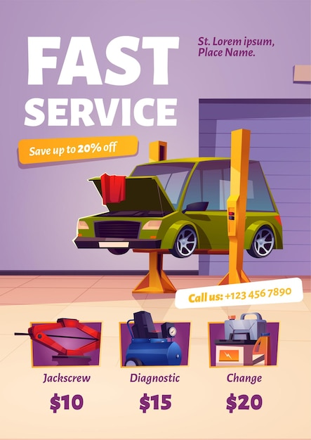 Fast car service poster Free Vector