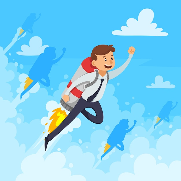 Fast career design concept with businessman and flying rocket white clouds smoke on blue background vector illustration Free Vector