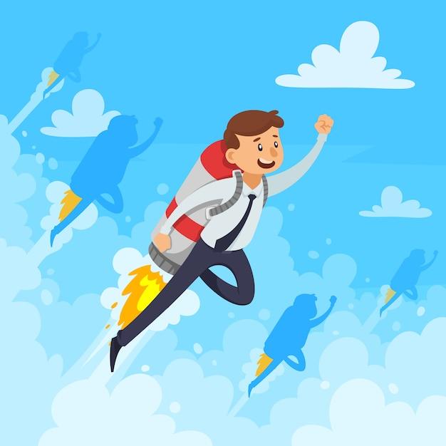 Il concetto di progetto di carriera veloce con l'uomo d'affari e le nuvole bianche del razzo volante fumano sull'illustrazione blu di vettore del fondo Vettore gratuito