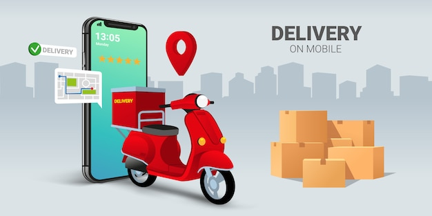 Fast delivery by scooter on mobile. e-commerce concept. online food or pizza order and packaging box infographic. Premium Vector