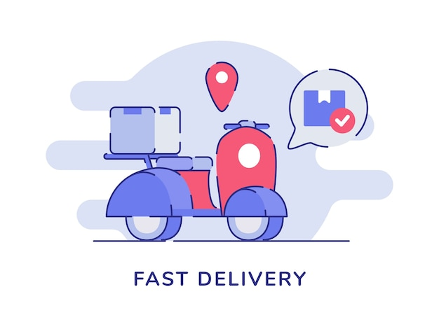 Fast delivery concept box package on scooter point location white isolated background Premium Vector
