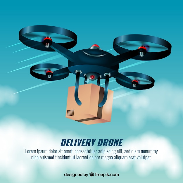 Fast delivery drone design Free Vector