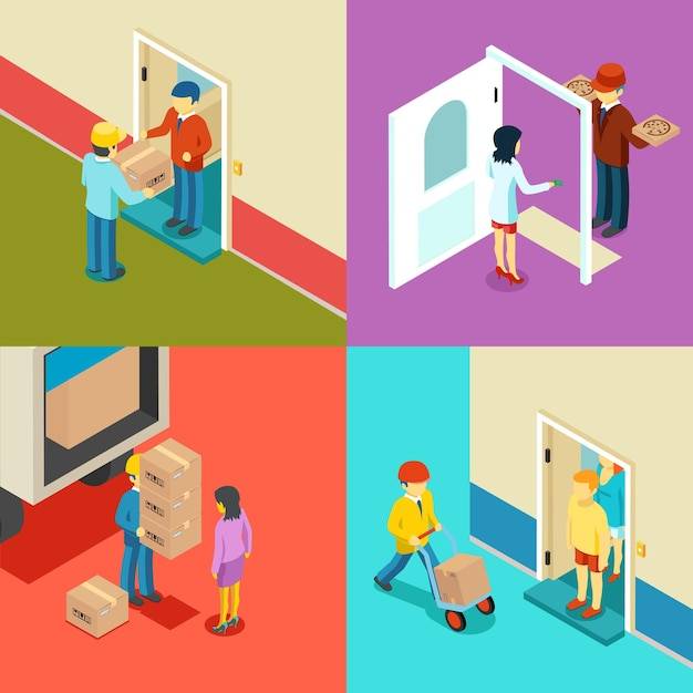 Fast delivery flat isometric concept. Free Vector