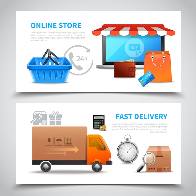 Fast delivery horizontal banners Free Vector