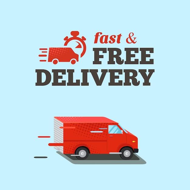 Быстрая доставка иллюстрации. типографская надпись быстрой бесплатной доставки. изометрические красный фургон Premium векторы