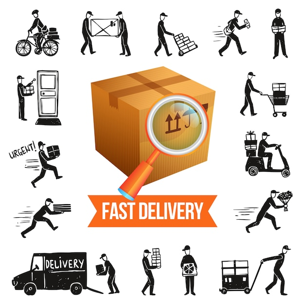 Fast delivery illustration Free Vector
