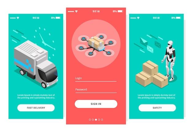 Быстрая доставка изометрических баннеров для дизайна мобильных приложений, предлагающих различные способы иллюстрации после доставки Бесплатные векторы