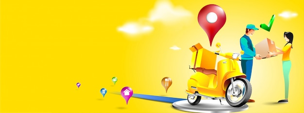 Fast delivery package by scooter on mobile phone. order package in e-commerce by app. courier send p
