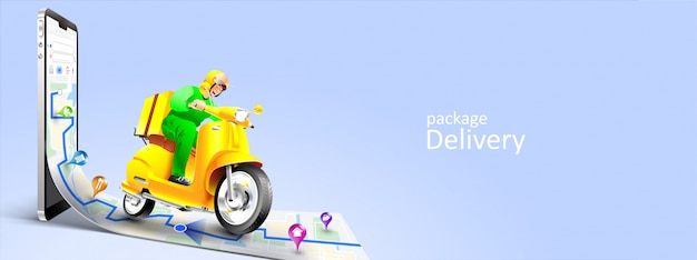 Fast delivery package by scooter on mobile phone. tracking courier by map application Premium Vector