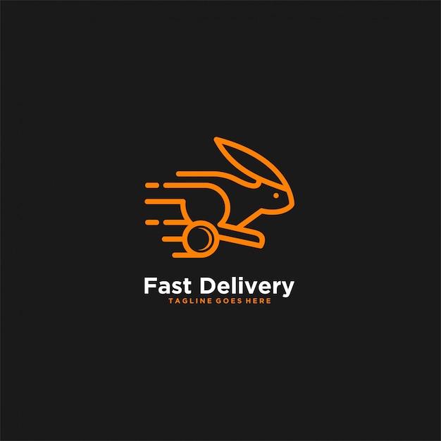 Fast delivery rabbit orange color illustration  logo. Premium Vector