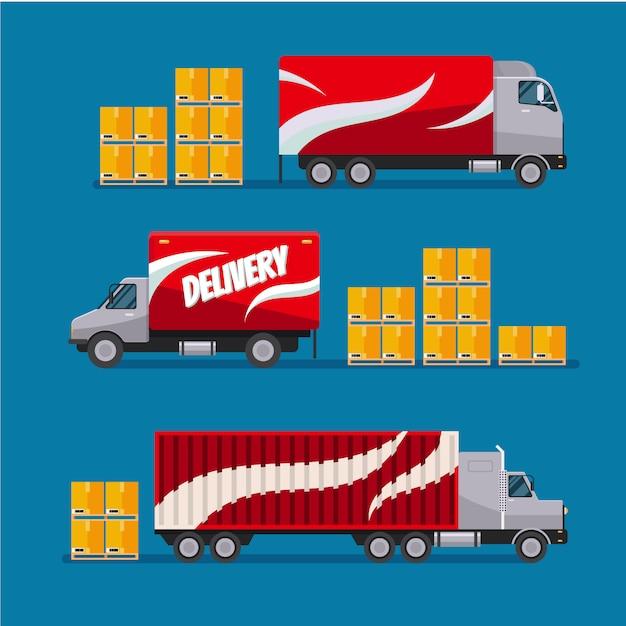 Быстрая доставка красных грузовиков с пакетами Premium векторы