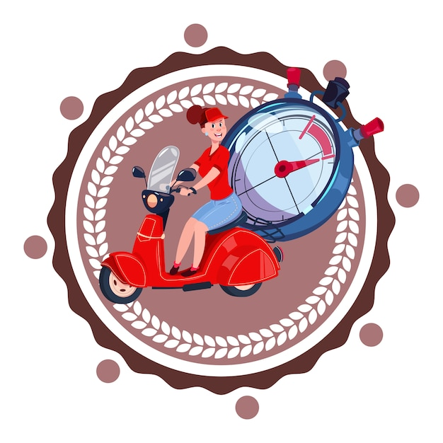 Fast delivery service logo woman courier riding retro scooter icon isolated Premium Vector