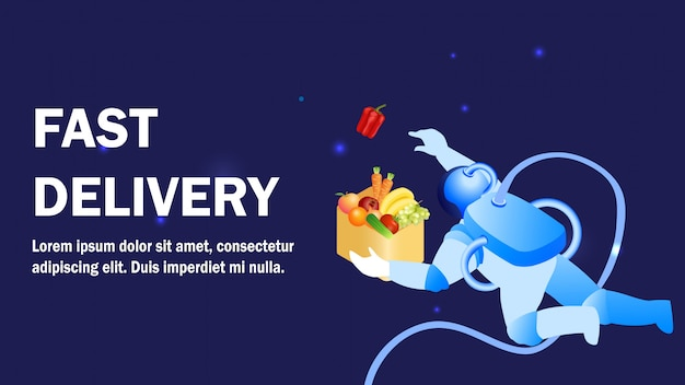 Fast delivery service promotion banner template Premium Vector