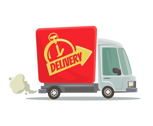 高速配達トラックは、赤い車の移動を分離しました。側面図。フラット漫画イラスト Premiumベクター