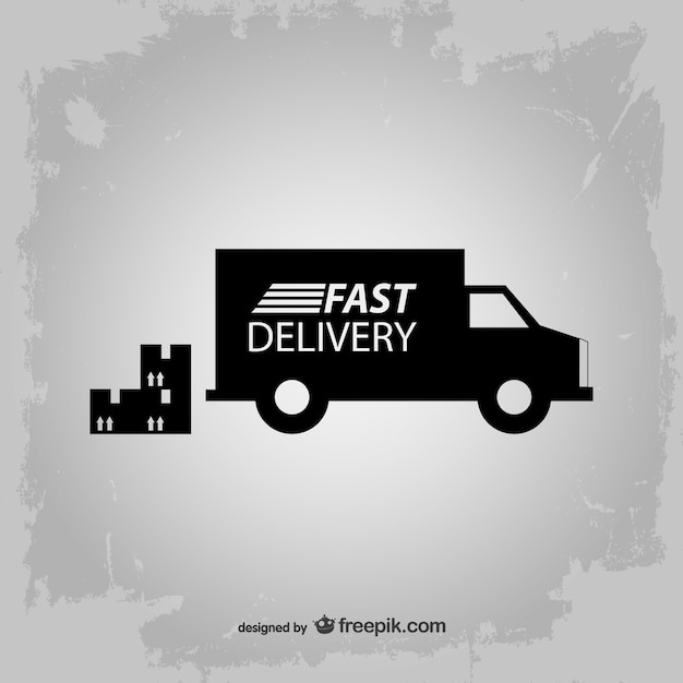 Fast delivery truck silhouette Free Vector