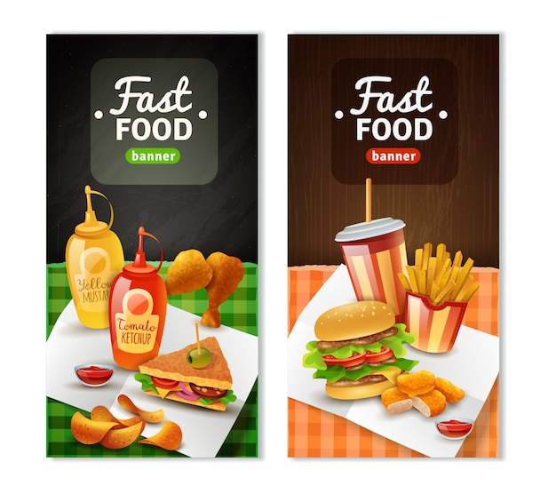 Fast food 2 vertical banners set Free Vector
