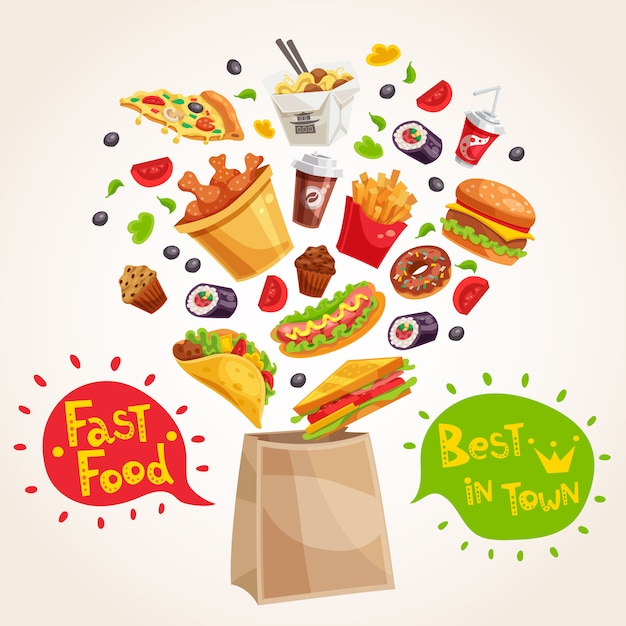 Fast food advertising composition Free Vector