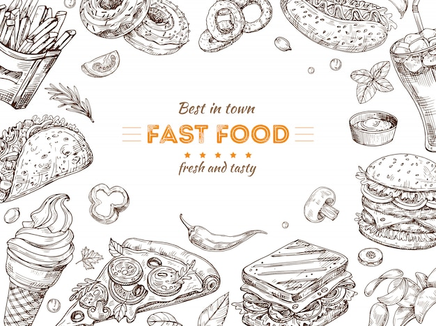 Fast food background. sketch drawing hamburger, cola snacks. doodle ice cream, pizza and sandwich. fast food restaurant vector poster Premium Vector