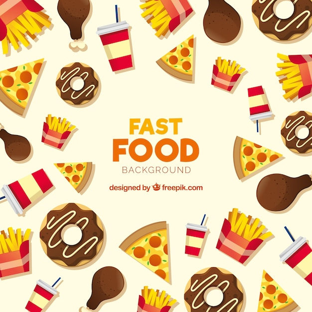 Fast food background with flat design Free Vector