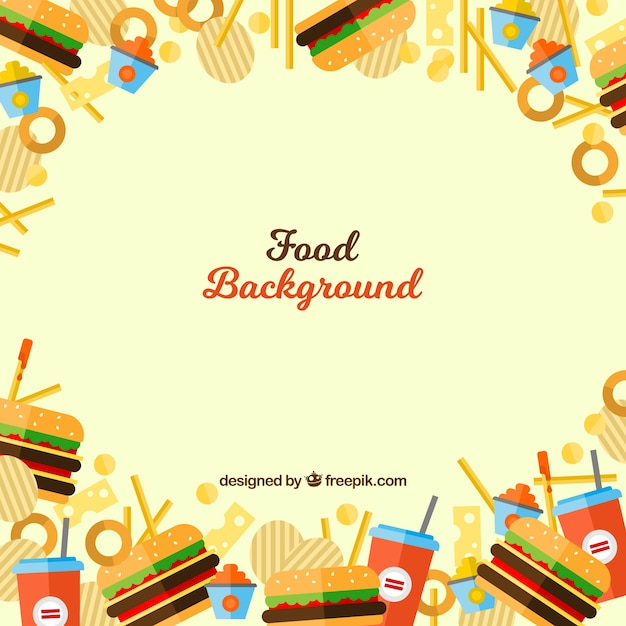Fast food background with flat design