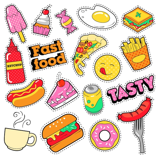 Fast food badges, patches, stickers - burger fries hot dog pizza donut junk food in comic style.  doodle Premium Vector