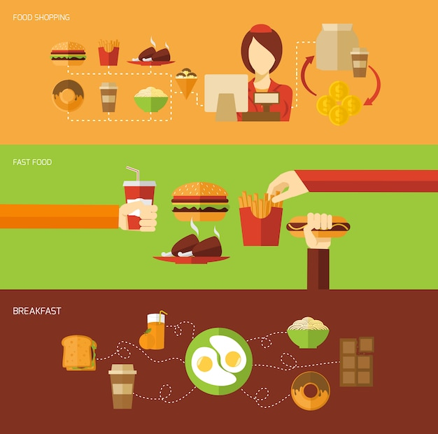 Fast food banner set Free Vector