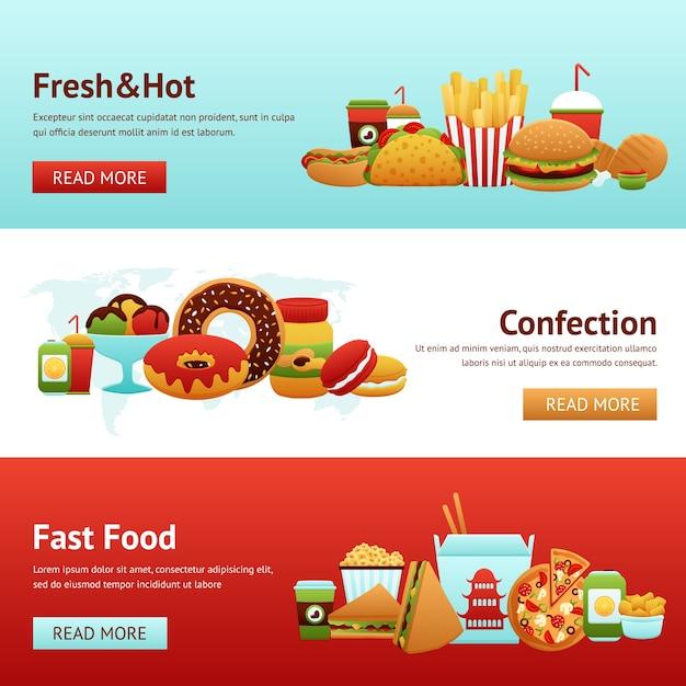 Fast food banner set Free Vector