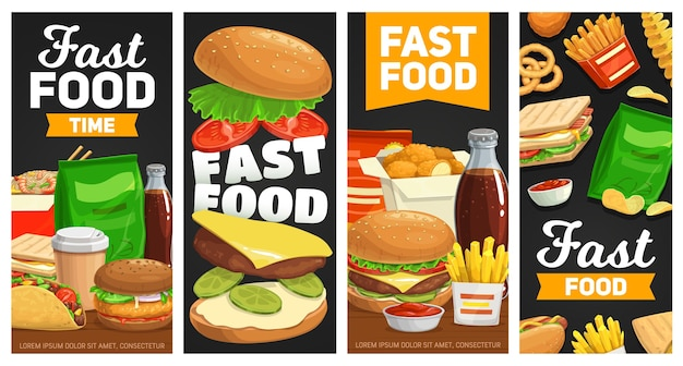 Fast food banners cheeseburger, hamburger and french fries with sandwich. Premium Vector