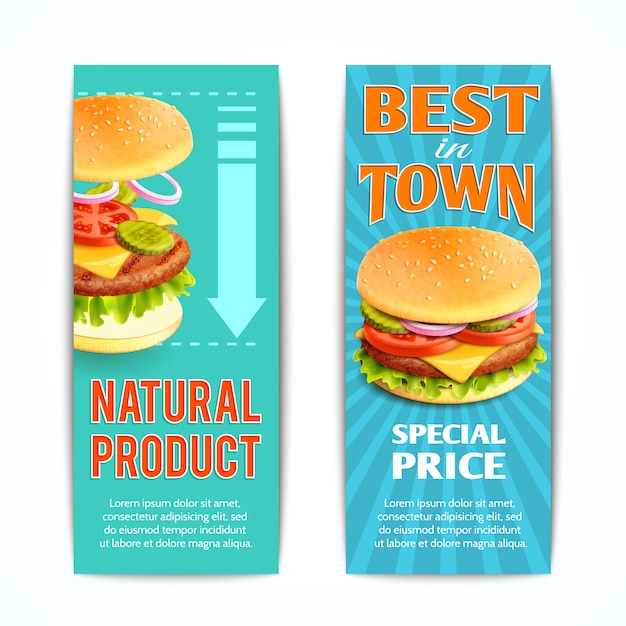 Fast food banners set Free Vector