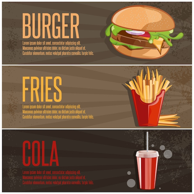Fast food banners with burger french fries and cola Premium Vector
