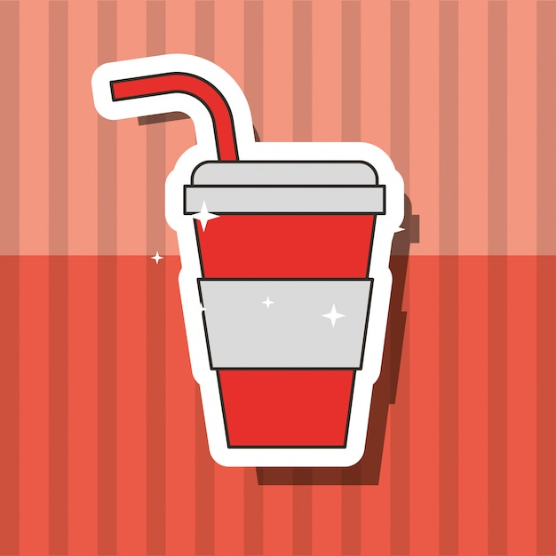 Fast food beverage soda in paper cup with straw Premium Vector