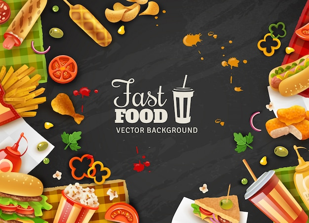 Fast food black background poster Free Vector