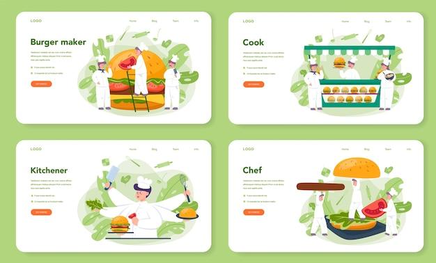 Фаст-фуд, веб-баннер burger house или набор целевой страницы. шеф-повар приготовит вкусный гамбургер с сыром, помидорами и говядиной между вкусной булочкой. ресторан быстрого питания. изолированные плоские векторные иллюстрации Premium векторы