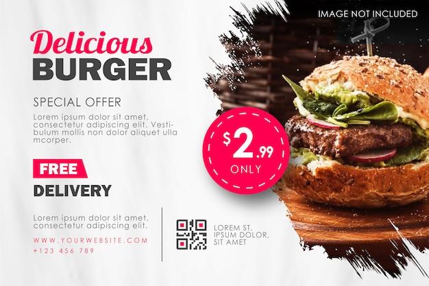 Fast food burger restaurant flyer template Premium Vector