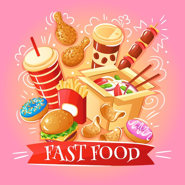 Фаст-фуд гамбургеры лапша куриные чипсы десерты напитки иллюстрация Бесплатные векторы
