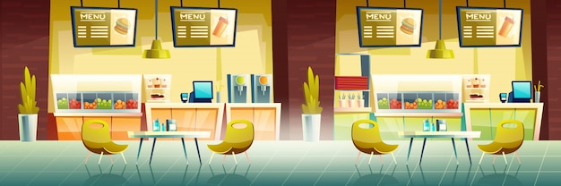Fast food cafe interior, empty cafe banner Free Vector