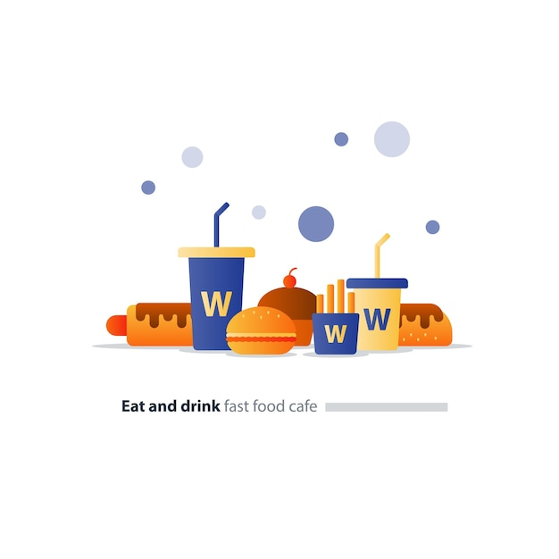 ファーストフードカフェアイテムセット、ホットドッグとハンバーガーのアイコン、大小の飲み物、食べたり飲んだり Premiumベクター