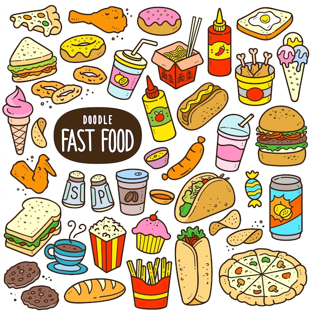 Fast food cartoon color illustration Premium Vector