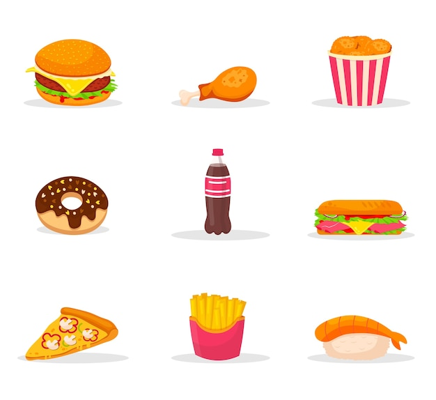 Fast food cartoon color  illustrations set. snack, junk food color cliparts pack. bistro menu   elements. cafe and pizzeria assortment. burger, french fries, hot dog, sushi, soda Premium Vector