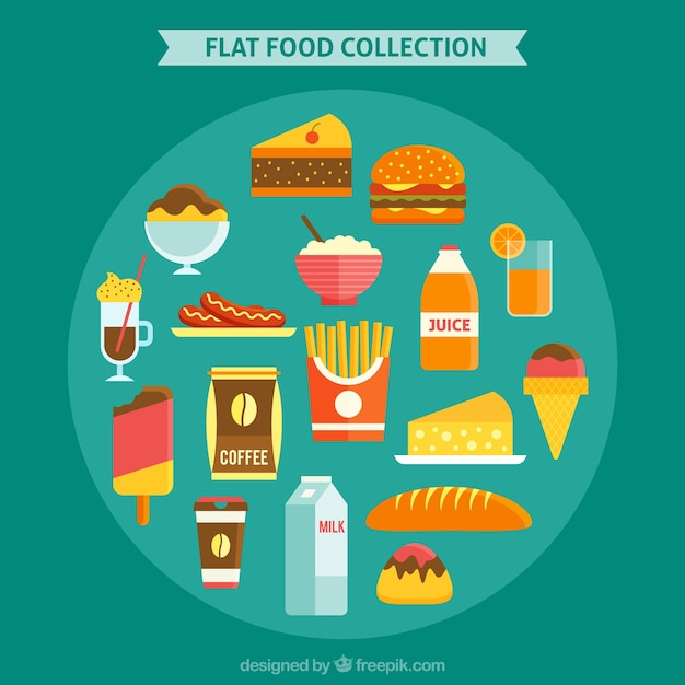Fast food collection in flat design