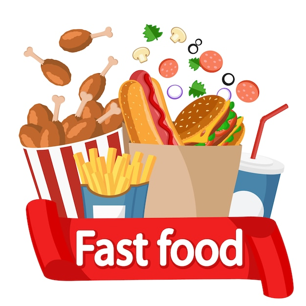 Fast food collection, logos on a white. Premium Vector