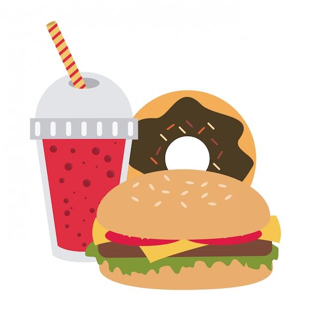 Fast food combo Premium Vector